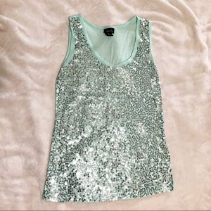 Mint green stank top with silver sequins